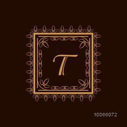 Vintage monogram design with English Alphabet T in artistic floral pattern decorated square shaped frame on brown background.