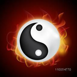 Glossy Chinese symbol Yin-Yang on flames decorated background.