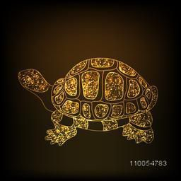 Chinese symbol of wealth tortoise in sparkling golden color on stylish brown background.