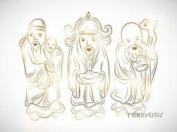 Three standing Chinese Gods with golden outline on grey background.