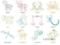 Floral decorated twelve Zodiac or Horoscope sign on beige background.