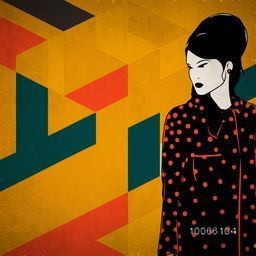 Retro young fashionable girl on colorful abstract background for retro fashion collection.