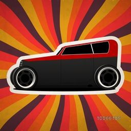 Retro vintage car on colorful abstract rays background.