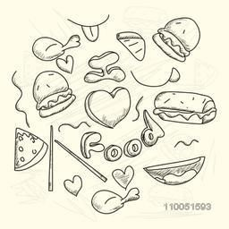 Sketch of food doodles with shadow on background