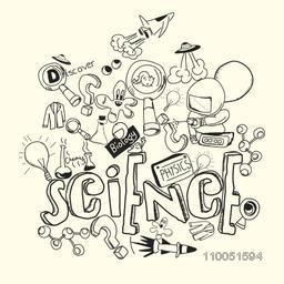 Sketch of Scientific equipment with text science, physics, biology and discover.