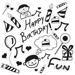 Set of different doodles for Happy Birthday on white background.