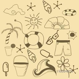 Stylish doodle set for summer vacation, seamless pattern.