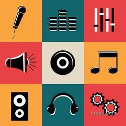 Set of nine shiny musical web icons in black and white color on colorful background.