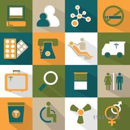 Set of health and medical web icons on colorful background.