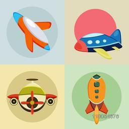 Four colourful rockets icons with rounded shape inside on different colour background.