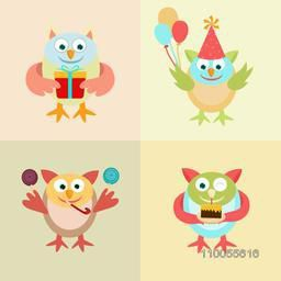 Set of four birthday character of cartoon birds with gift, balloons, candy and cake on colorful background.