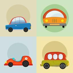 Set of four stylish icons for car on colorful background.