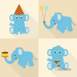 Set of four cartoon elephant for birthday icons with cap, balloons, cake and gift on beige background.
