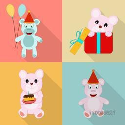 Set of four birthday icons of teddy with balloon, gift box, cake and cap on colorful background.