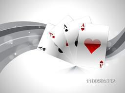 Shiny playing cards ace on abstract grey background.
