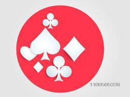 Stylish playing cards symbols on red circle.