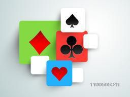 Colorful squares with different playing card symbols on grey background.