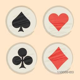 Set of ace card symbols in rounded frame for Casino.