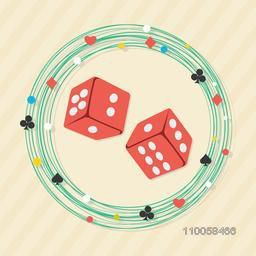 Red rolling dices in playing cards symbols decorated frame for Casino.
