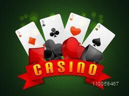 Shiny ace cards with 3D symbols for Casino on green background.