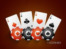 Ace playing cards with Casino chips on brown background.