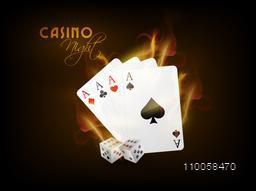 Ace playing cards in fire with dices on brown background for Casino Night.