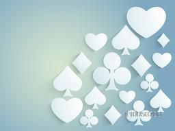 Shiny ace playing cards symbols on blue background for Casino.