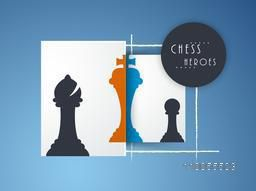 Stylish silhouette of chess heroes like bishop, king and pawn on blue background.