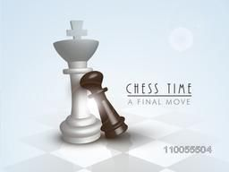 Shiny figures of king and pawn on chess board for final move of chess.