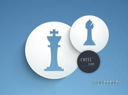 Stylish figures of king and bishop on blue background, can be use as sticker, tag or label.