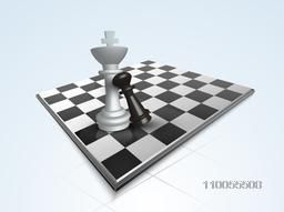 Chess king and pawn figures with chessboard on sky blue background.