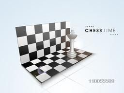 Shiny folding chess board with king on sky blue background.