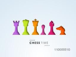 Shiny colourful set of chess pieces like king, queen, rook, pawn, bishop and knight on sky blue background.