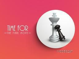 Chess figures king and pawn in circle on red background, can be use as sticker, tag or label.
