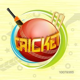 Glossy 3D text Cricket on red ball with bat and wicket stumps for Sports concept.