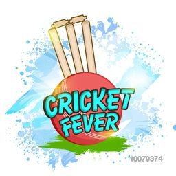 Stylish text Cricket Fever with Ball and Wicket Stumps on abstract background for Sports concept.