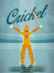 Vintage Template, Banner or Flyer design with illustration of a batsman for Cricket Championship League concept.