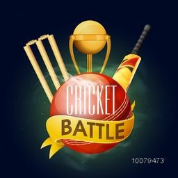 Creative glossy ball with golden trophy, bat and wicket stumps for Cricket Battle.