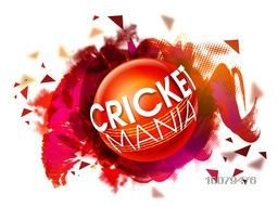 Stylish text Cricket Mania on glossy Ball, abstract paint stroke background for Sports concept.