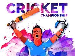 Creative illustration of a player in winning pose on colorful splash decorated background for Cricket Championship concept.