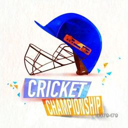 Creative blue helmet for Cricket Championship concept.