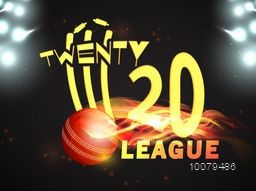 Stylish text Twenty 20 League with illustration of fiery ball hit the wicket stumps on stadium lights background for Cricket Sports concept.