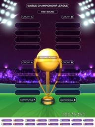 Creative Cricket Match Schedule with golden trophy and participant countries names on night stadium lights background.