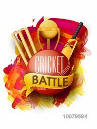 Creative glossy ball with golden trophy, bat and wicket stumps for Cricket Battle on colorful paint stroke background.