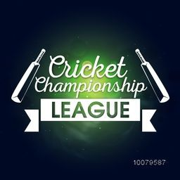 Stylish text Cricket Championship League with bats on shiny background, can be used as poster, banner or flyer design.
