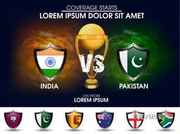 India VS Pakistan Cricket Match concept with golden trophy and other participant countries flags on stylish background.