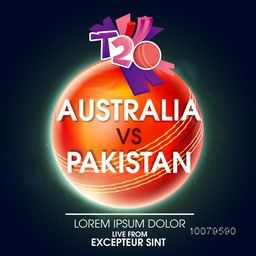 Stylish text Australia Vs Pakistan on glossy Ball for Cricket Match concept.