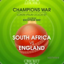Stylish text South Africa VS England on glossy ball for Champions War, Cricket Match concept.