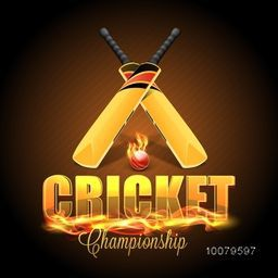 Stylish text Cricket in fire with glossy Bats and Ball on shiny brown background.
