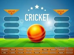Creative Cricket Match Schedule with illustration of glossy red ball and participant countries names on stadium background.